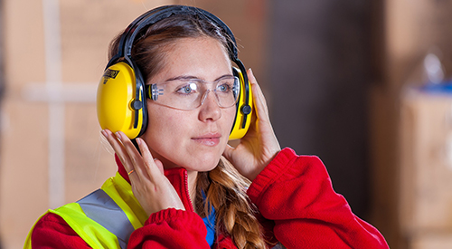 Photo of a women wearing safety equipment